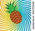 Raster version. Ripe pineapple. Illustrationon abstract colorful background - stock photo