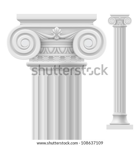 Raster version. Roman column.  Illustration on white background for design