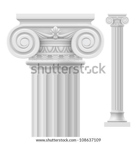 Raster version. Roman column.  Illustration on white background for design - stock photo