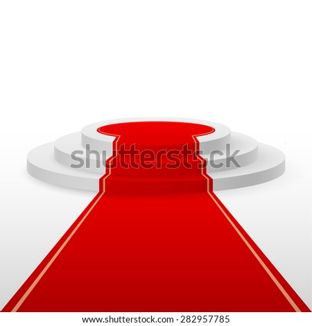 Raster version. Round stepped white podium with red carpet