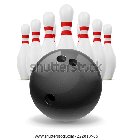 Raster version. Rows of skittles behind of black ball.  - stock photo