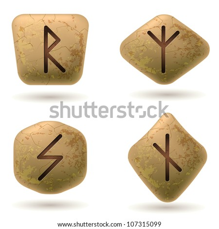 Raster version. Runes Engraved on Stone. Set number five on white