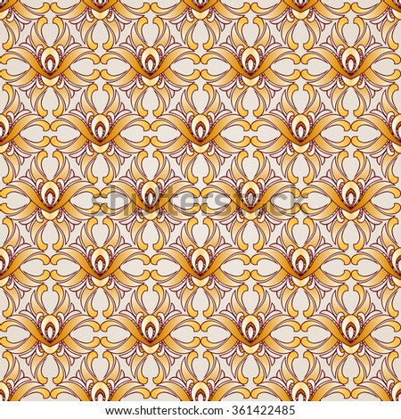 Raster version. Saturated seamless abstract floral pattern in the form of plants - stock photo