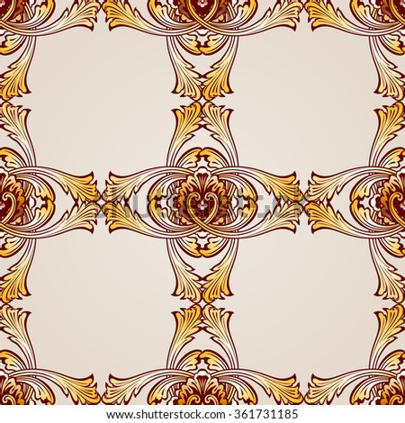Raster version. Seamless abstract floral pattern in the form  frameworks from vines - stock photo