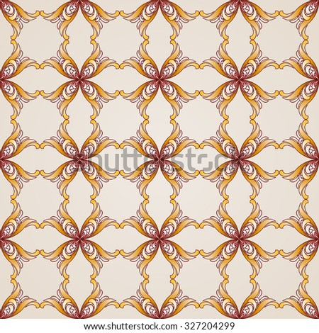 Raster version. Seamless abstract floral pattern in the form of four end-flowers - stock photo