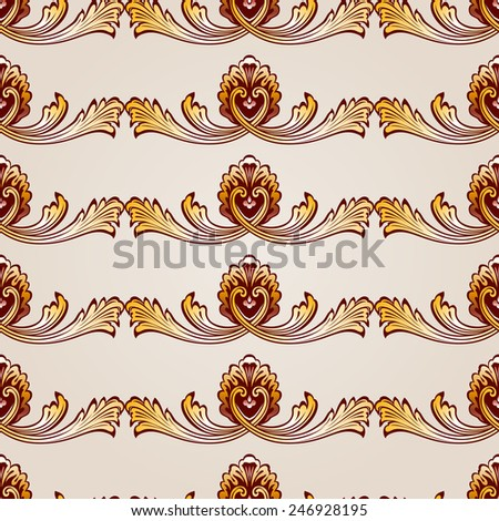Raster version. Seamless abstract floral pattern in the form of gorizontal vines  - stock photo