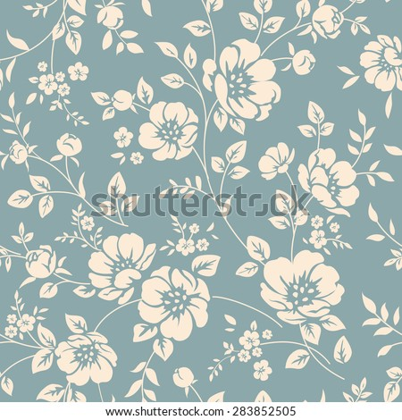 Raster version. Seamless floral wallpaper. Pattern in classic style with flowers and twigs - stock photo