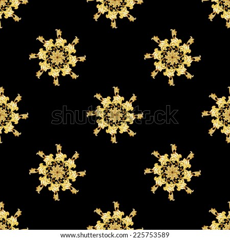Raster version. Seamless gold floral elements on black background  - stock photo