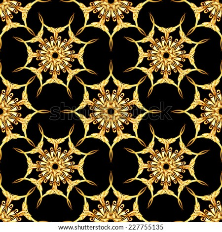 Raster version. Seamless gold floral patterns on black background  - stock photo
