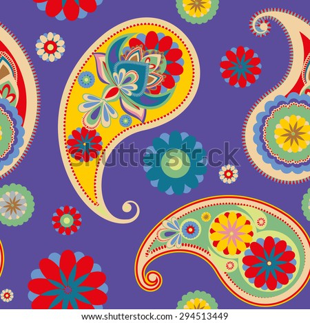 Raster version. Seamless pattern based on traditional Asian elements Paisley. Bright colorful pattern. - stock photo