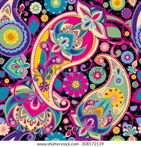 Raster version. Seamless pattern based on traditional Asian elements Paisley. Purple, pink, green, bright colors. - stock photo