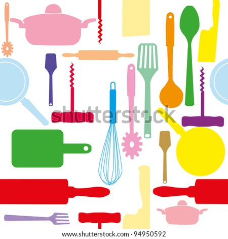 raster version seamless pattern of kitchen tools. - stock photo
