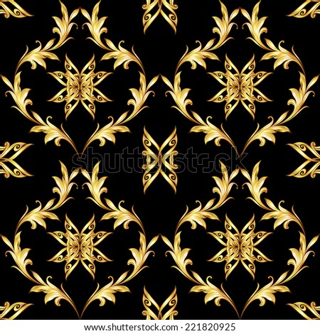Raster version. Seamless pattern with golden floral elements on black background  - stock photo