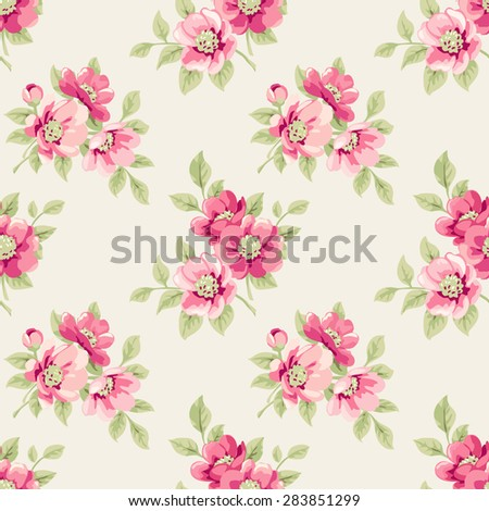 Raster version. Seamless pattern with pink flowers - stock photo