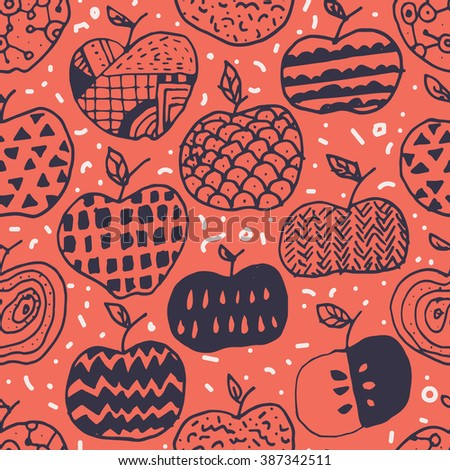 Raster version - seamless surface pattern design with hand drawn abstract apples in different doodle ornamentations. Perfectly repeating pattern for all web and print purposes.  - stock photo