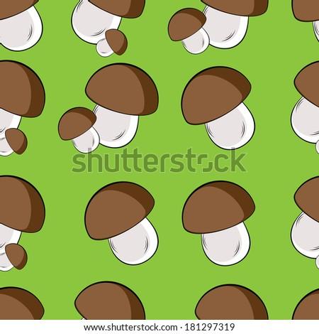 Raster version. Seamless texture of white mushroom. Illustration of the designer on green background - stock photo