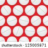 Raster version. Seamless texture realistic tablets on red background - stock vector
