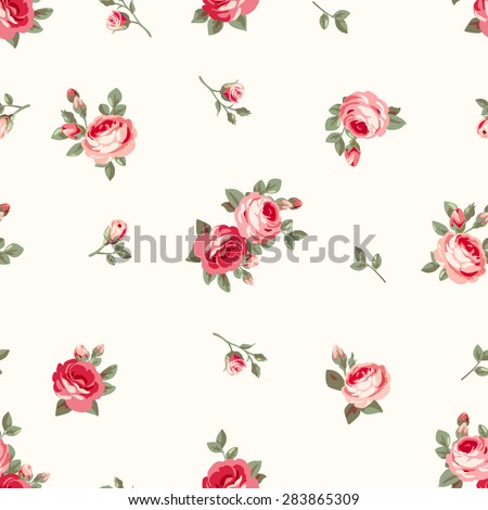 Raster version. Seamless vintage pattern with pink roses - stock photo