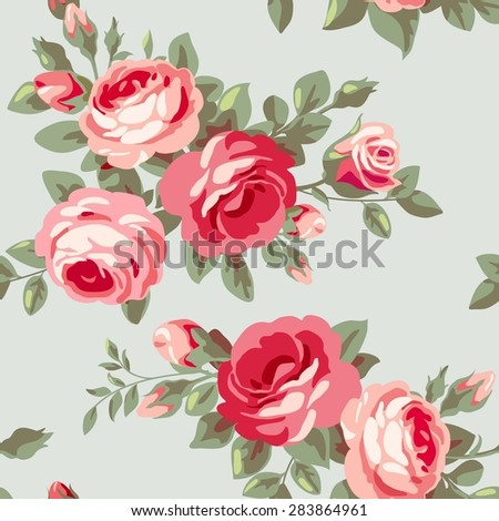 Raster version. Seamless vintage pattern with roses. Floral wallpaper with blooming pink flowers - stock photo