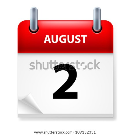Raster version. Second in August Calendar icon on white background - stock photo