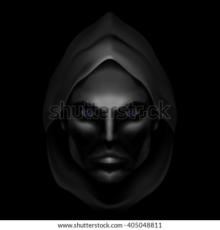 Raster version. Serious Male Face Logo Template. Monk Shadowed Face under the Hood - stock photo