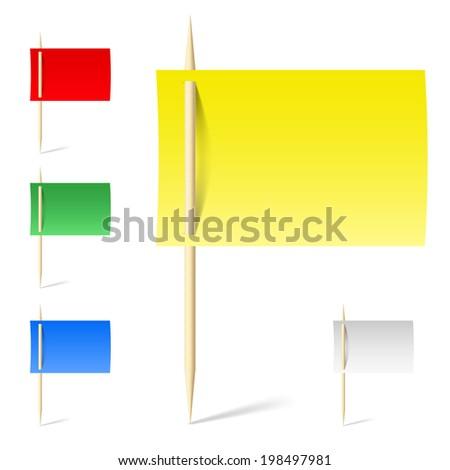 Raster version. Set color papers on toothpicks in flag design. Illustration on white background - stock photo