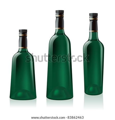 Raster version. Set number one of green wine bottle. Illustration on white background - stock photo