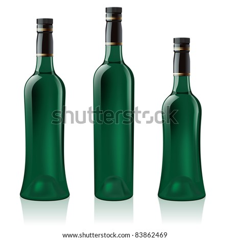 Raster version. Set number three of green wine bottle. Illustration on white background - stock photo