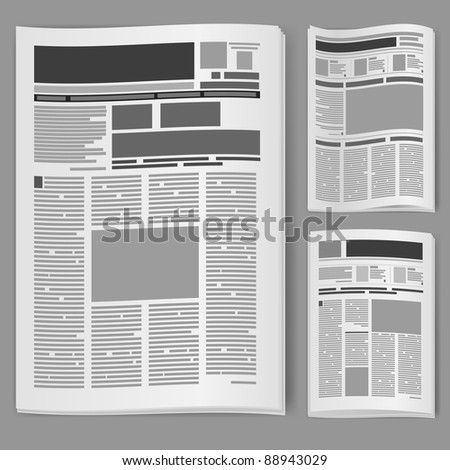 Raster version. Set number two newspaper. Illustration on white background. - stock photo