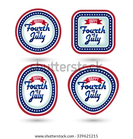 Raster version. Set of bages Fourth of july Independence day - stock photo