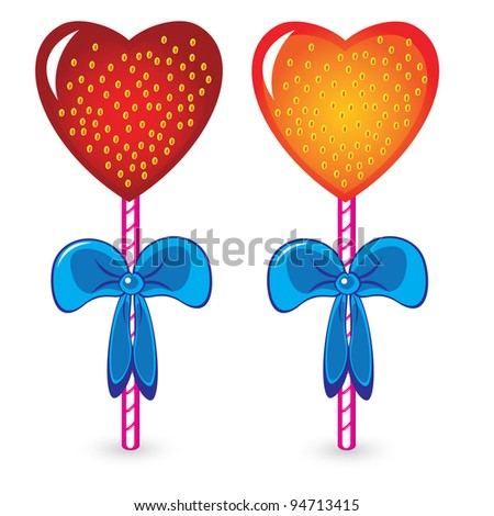 Raster version. Set of beautiful heart shaped candies. Illustration on white background - stock photo