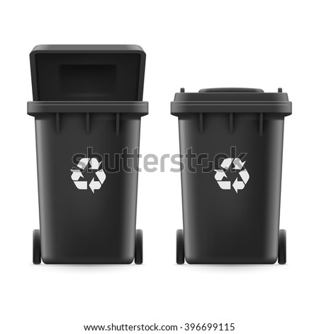 Raster version. Set of black buckets for trash with sign arrow