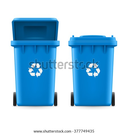 Raster version. Set of blue buckets for trash with sign arrow
