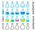 Raster version. Set of Chemical Science Equipment. Illustration on white background - stock photo