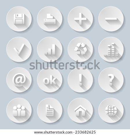 Raster version. Set of computor, Web site and Internet icons in paper style  - stock photo
