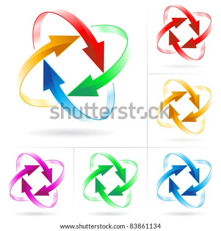 Raster version. Set #5 of different colored arrow circles isolated on the white - stock photo