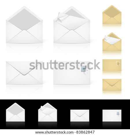 Raster version. Set of different icons for e-mail. Illustration for design on white background - stock photo
