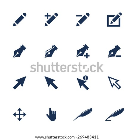 Raster version. Set of different types of cursor icons in flat style - stock photo