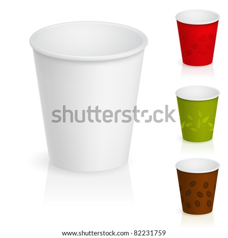 Raster version. Set of empty cardboard coffee cups. Illustration on white background