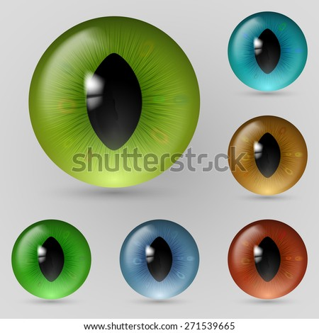 Raster version. Set of eyes reptiles, cats and dragon  - stock photo