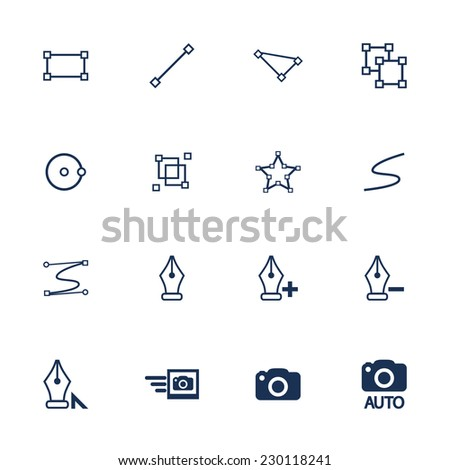 Raster version. Set of flat icons for illustration and photo interface  - stock photo