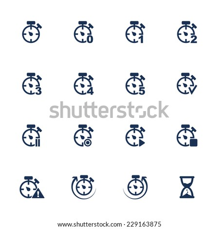 Raster version. Set of icons with clocks in flat style  - stock photo