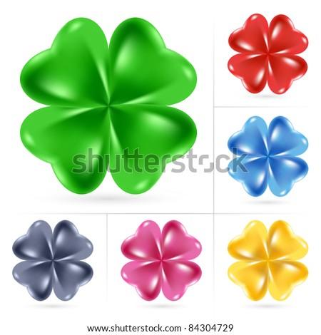 Raster version. Set of Irish shamrock for St Patrick's Day - stock photo