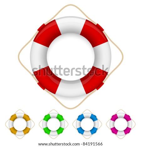 Raster version. Set of life buoys. Illustration on white background - stock photo