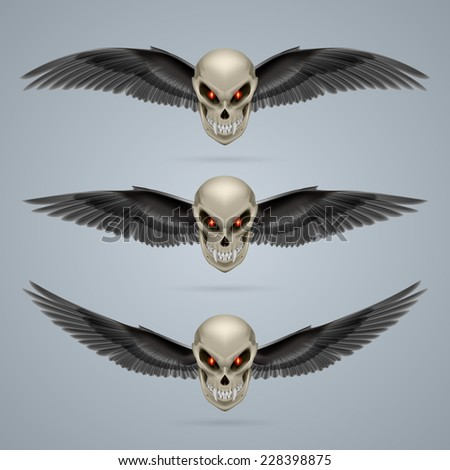 Raster version. Set of mutant skulls with long fangs and black wings  - stock photo