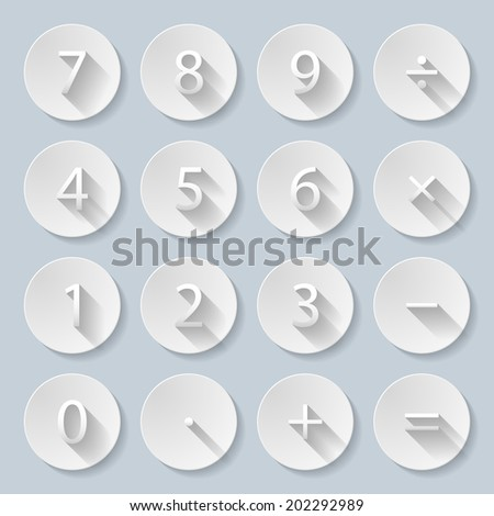 Raster version. Set of numbers and mathematical signs in paper style - stock photo