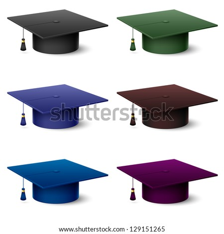 Raster version. Set of of colorful hats graduate. Illustration on white background - stock photo