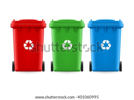 Raster version. Set of red green and blue buckets for trash with sign arrow