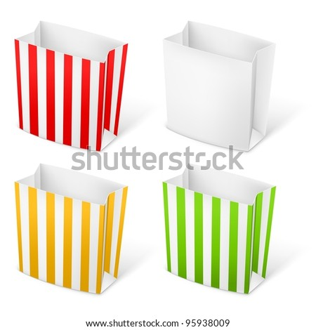 Raster version. Set of Stripped color Paper Bags. Illustration on white background - stock photo