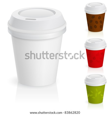 Raster version. Set of takeaway coffee cups. Illustration on white background. - stock photo